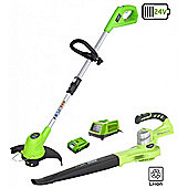 Greenworks 24V Grass Trimmer, Blower,2Ah battery and charger
