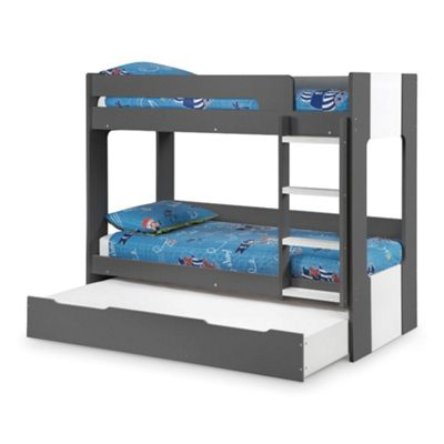 Happy Beds Ellie Wood Kids Bunk Bed and Underbed Trundle Guest Bed with 3 Memory Foam Mattresses - Grey - 3ft Single