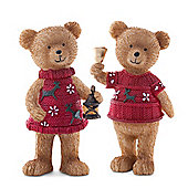 Set of Two Standing Christmas Bear Figurine Ornaments in Red Jumpers