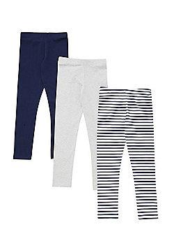 F&F 3 Pack of Plain and Striped Leggings - Multi