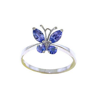 QP Jewellers 0.60ct Tanzanite Butterfly Ring in 14K White Gold - Size Y