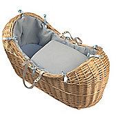 Clair de Lune Natural Noah Pod Moses Basket (Waffle Blue)