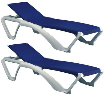 Resol Marina Sun Lounger - White Frame with Blue Canvas Material - x2 Loungers