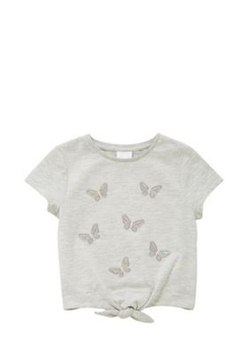 F&F Butterfly Sequin Tie Front T-Shirt Grey 3-4 years