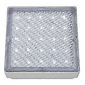 LED RECESSED INDOOR & OUTDOOR WALKOVER CLEAR 15cm SQUARE WHITE LED