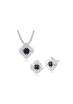 Gemondo 925 Sterling Silver Sapphire Square Crossover Stud Earring & 45cm Necklace Set