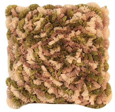 Olive Green Mixed Ruffles Cushion Funky Soft Comfortable