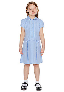 F&F School Girls Easy Care Gingham Dress with Scrunchie - Blue
