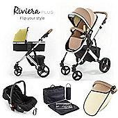 Tutti Bambini Riviera Plus 3 in 1 Chrome Travel System - Taupe / Pistachio