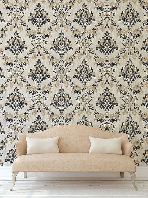 Synergy Damask Wallpaper Black and Gold Vymura M1032