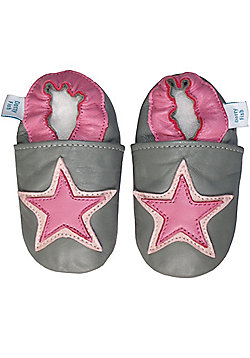 Dotty Fish Soft Leather Baby Shoe - Grey and Pink Star - Grey