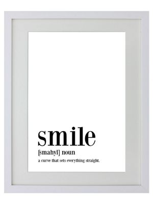 Smile White Wooden Framed Mini Poster 31x38cm,