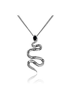 Gemondo Sterling Silver Art Deco Black Spinel & Marcasite Snake 45cm Necklace