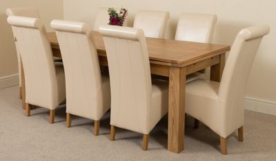 Richmond Solid Oak Extending 200 - 240 cm Dining Table with 8 Ivory Montana Leather Dining Chairs