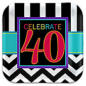 40th Birthday Dessert Plates - 17cm Paper Party Plates - 8 Pack