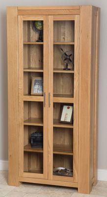 Kuba Chunky Solid Oak Glass Display Cabinet Unit