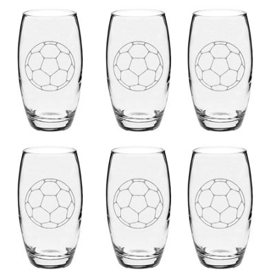 Argon Tableware Engraved Glass Highball Cocktail Tumblers - Football - 510ml - Pack of 6