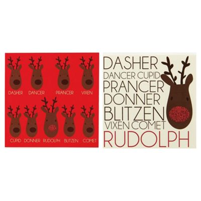 Tesco Red Nose Rudolph Christmas Cards, 12 Pack