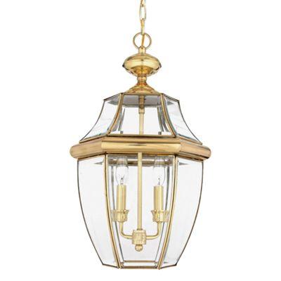 Polished Brass Large Chain Lantern - 2 x 60W E14