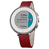 Pebble Time Round Smartwatch 14mm Stainless Steel with Silver / Red Leather - 601-00053