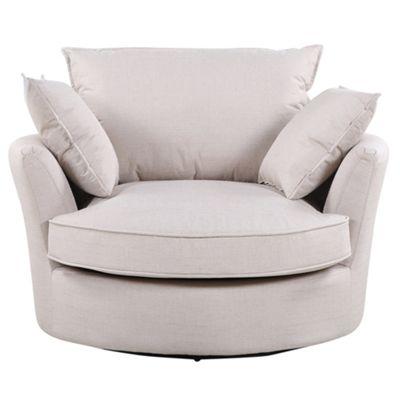 Sofa Collection Olympia Herringbone Fabric Cuddle Chair - Beige