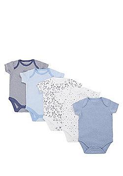 F&F 5 Pack of Simple Short Sleeve Bodysuits - Blue & Multi