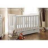 Obaby Lincoln Mini Sleigh Cot Bed & Sprung Mattress - White