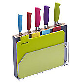 Colourworks Chopping Board and Knife Block Set, 9 Piece