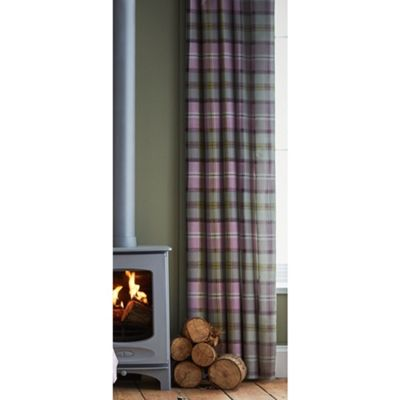 Catherine Lansfield Heritage Kelso Check Heather Eyelet Curtains - 66x72 Inches (168x183cm)