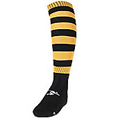 Precision Training Hooped Pro Football Socks - Black & Yellow