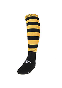 Precision Training Hooped Pro Football Socks - Black & Yellow