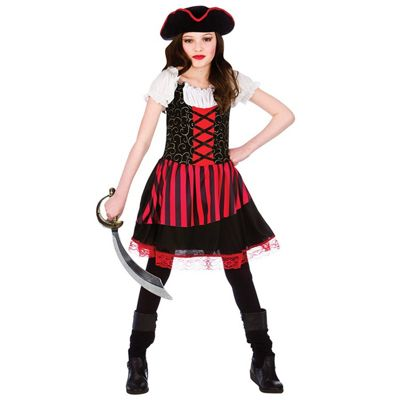 Pretty Pirate Girl Childrens Fancy Dress Costume Dress & Hat-Medium 5-7 Years
