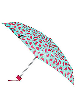Totes Watermelon Print Miniflat Umbrella - Blue & Pink