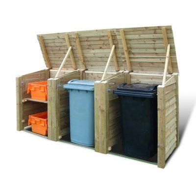 Morcott wooden triple combo bin storage unit