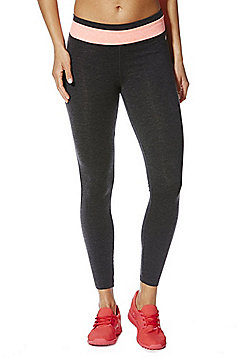F&F Active Stripe Waistband Leggings - Grey & Pink