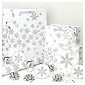 Glitter Snowflake Christmas Wrapping Paper, Tags and Accessories pack