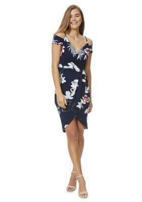 AX Paris Floral Strappy Bardot Wrap Dress Navy Multi 8