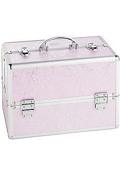 Beautify Large Pink Rose Print Beauty Cosmetics Make Up Case