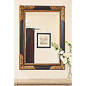 Large Black/Gold Antique Style Wood Rectangle Wall Mirror 3Ft8 X 2Ft8 112X81cm