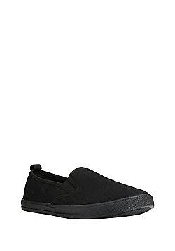 F&F School Unisex Slip-On Plimsolls - Black