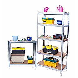Heavy Duty 5 Tier Racking Shelves, Boltless Industrial Racking,150x70x30cm. Industrial Strength & MDF, 900Kg Capacity Garage/Shed Storage Unit -Silver