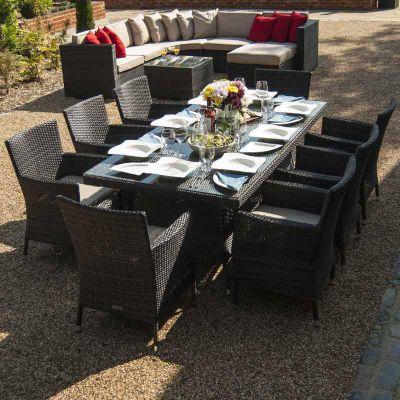 Maze Rattan - Baby LA 8 Seat Dining Set - 2m x 1m - Brown