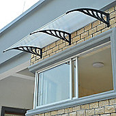 Homcom Porch Awning Rain Cover Front Door Window Canopy Sun Shade Roof (200L x 100W (cm), Black)