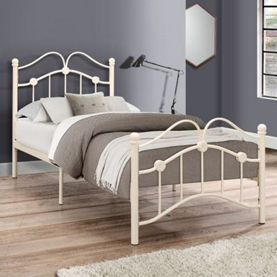 Happy Beds Canterbury Metal Bed with Memory Foam Mattress - Cream - 3ft Single