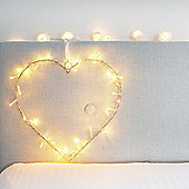 Heart Fairy Light Wreath With 40 Warm White LEDs