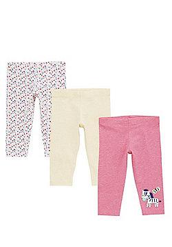 F&F 3 Pack of Zebra, Plain and Printed Leggings - Multi