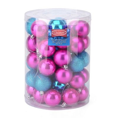 Christow 50 Assorted Christmas Baubles - Pink & Blue