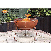 Theydon rustic steel fire bowl 70cm dia