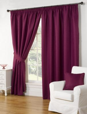 Buy Willow Ready Made Curtains Pair, 90 x 90 Aubergine Colour ...