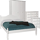 Nordic White Bedside, 2+4 Chest, 3 Door 4 Drawer Wardrobe, Double Bed Package